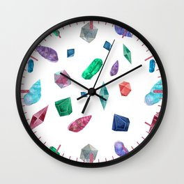 Watercolor Cristals and shells Sometimes later becomes never typography Wall Clock