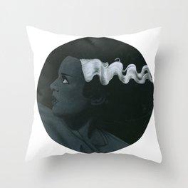 Frankenstein's bride on vinyl record print Throw Pillow
