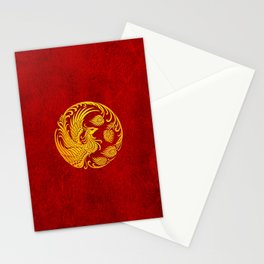 Traditional Yellow and Red Chinese Phoenix Circle Stationery Cards