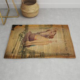 vintage newspaper print paris eiffel tower pin up girl Rug