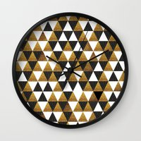 black and gold Wall Clocks featuring Black/Gold by T.Fischer