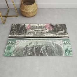 1875 Series U.S. Federal Reserve Five Dollar Bank of Deadwood - Christopher Columbus in Sight of Lan Rug