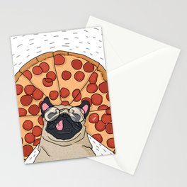 Funny Pug Pizza Stationery Cards