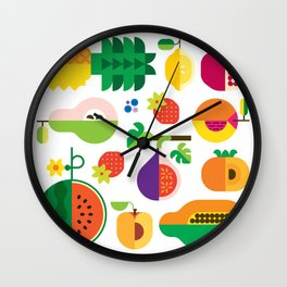 Fruit Medley White Wall Clock
