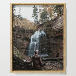 Girl standing infront of waterfall Photography Serving Tray