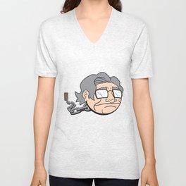 Chain Chompsky - Bizarre Mashup of Noam Chomsky and a Chain Chomp from Super Mario Bros Unisex V-Neck
