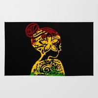 rasta Area & Throw Rugs featuring Rasta Lady by Lonica Photography & Poly Designs