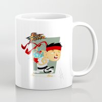 street fighter Mugs featuring STREET FIGHTER - RYU by mirojunior