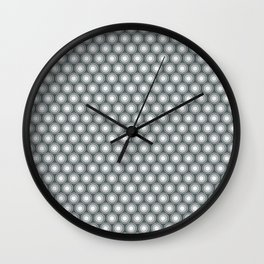 White Polka Dots and Circles Pattern on PPG Night Watch Pewter Green Wall Clock