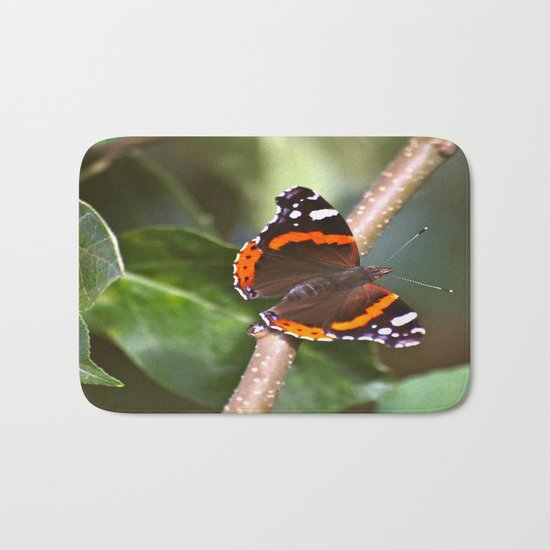 Admiral On The Apple Tree Branch Bath Mat