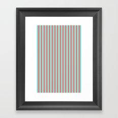 Red and Aqua Vertical Stripes Framed Art Print