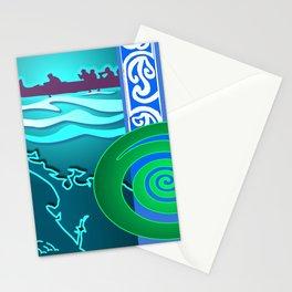 New Zealand Waka Map Stationery Cards