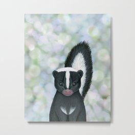 striped skunk woodland animal portrait Metal Print