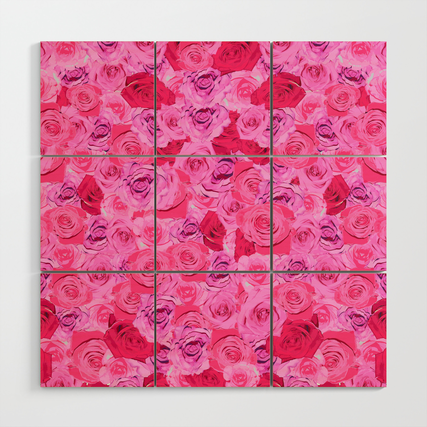 Floral Pink And Red Roses Tumblr Aesthetic Wood Wall Art By