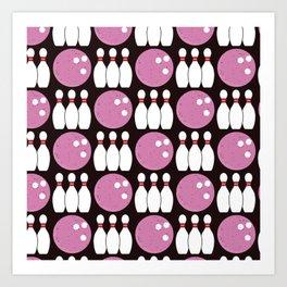 Bowling Pattern (Black/Pink) Art Print
