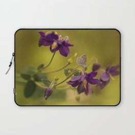 Purple columbine flowers with small butterfly Laptop Sleeve