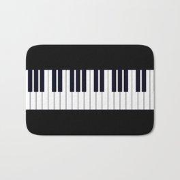Piano Keys - Black and white simple piano keys pattern minimalistic music themed artwork Bath Mat