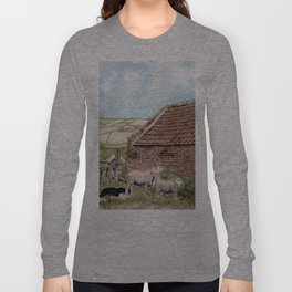 Farm Shed with Sheep Long Sleeve T-shirt