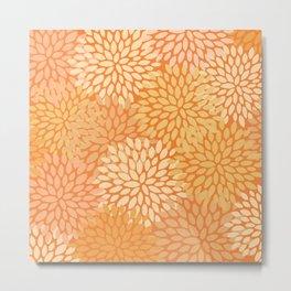 Floral Pattern, Yellow Gold Metal Print