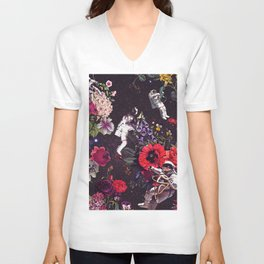 Flowers and Astronauts Unisex V-Neck