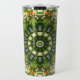 Wildflowers, Floral mandala-style, Flower Mandala Travel Mug