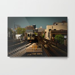 Incoming L Train Chicago Train El Train Subway Transit Windy City Metal Print