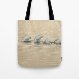 Whimsical White Pelicans Dance Tote Bag