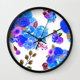 Watercolor Bouquet Floral in White + Blue Wall Clock