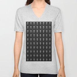White Crosses Pattern Black Leather Photo Print Unisex V-Neck