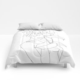 Minimal Line Art Woman with Flowers V Comforters