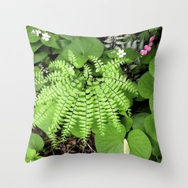 Maidenhair Fern, Adiantum Pedatum, And Friends Throw Pillow
