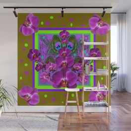 Purple-Khaki Color Fuchsia Orchids Chartreuse Pattern Wall Mural