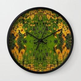 GREEN YELLOW RUDBECKIA DAISIES WATER REFLECTIONS Wall Clock