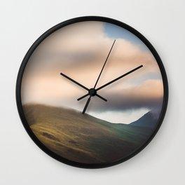 Misty Kazbek Mountain, foggy landscape, Georgia Wall Clock
