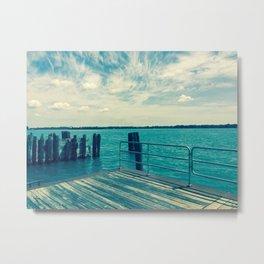 Dock Overlooking River Metal Print