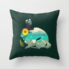 Rabbit Sky - (Forest Green) Throw Pillow