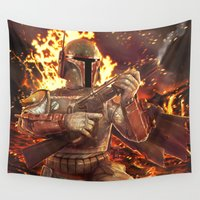 boba Wall Tapestries featuring Boba Fett by MATT DEMINO