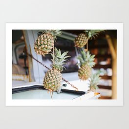 Pineapples hanging in Bali Art Print