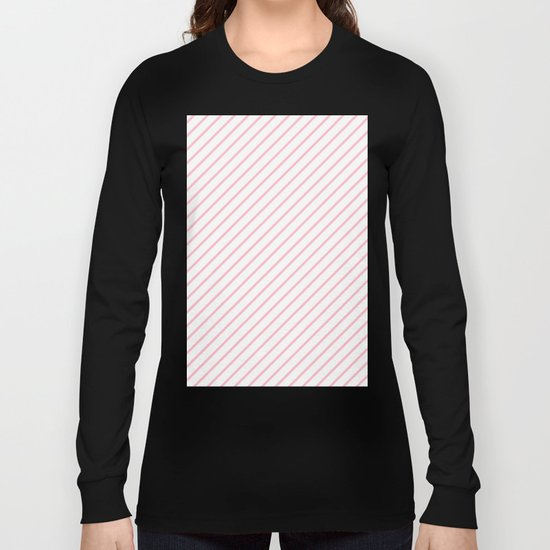 Diagonal Lines (Pink/White) Long Sleeve T-shirt