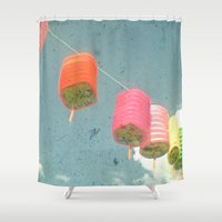 lanterns Shower Curtains featuring Lanterns by Cassia Beck