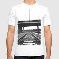 Nalley train tracks White SMALL Mens Fitted Tee