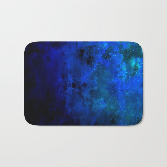 SECOND STAR TO THE RIGHT Rich Indigo Navy Blue Starry Night Sky Galaxy Clouds Fantasy Abstract Art Bath Mat