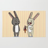 rabbits Area & Throw Rugs featuring Kinky Rabbits by Adriana Game Over