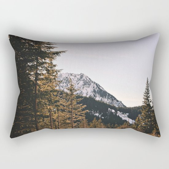 Snow Mountain in the Trees Rectangular Pillow