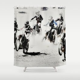 The Race is On  - Motocross Racers Shower Curtain