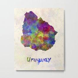 Uruguay in watercolor Metal Print
