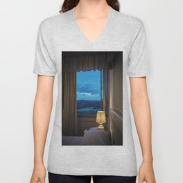 Panoramic view of the rolling hills of Chianti through a window at sunset Unisex V-Neck