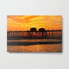 Huntington Beach Sunset  2/22/14   Orange Coast Metal Print