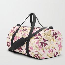 Purple Shamrock Floral Layered Pattern / Cream Duffle Bag