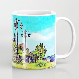 Square of Amalfi with monument and street lamps Coffee Mug